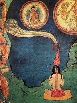 Tibetischer Yogi praktiziert sitzend Tummo-Meditation. Entlang seiner Wirbelsäule kursiert Kundalini Energie. Aus seinem Kopf kommen Flammen.