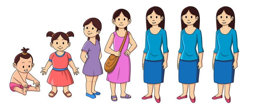 Grafik: Entwicklung des Menschen bis zum Erwachsenenalter, danach gleichbleibend. Ewig jung.